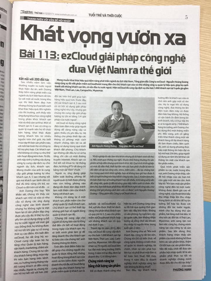 Báo tuổi trẻ: ezCloud giải pháp công nghệ đưa Việt Nam ra thế giới