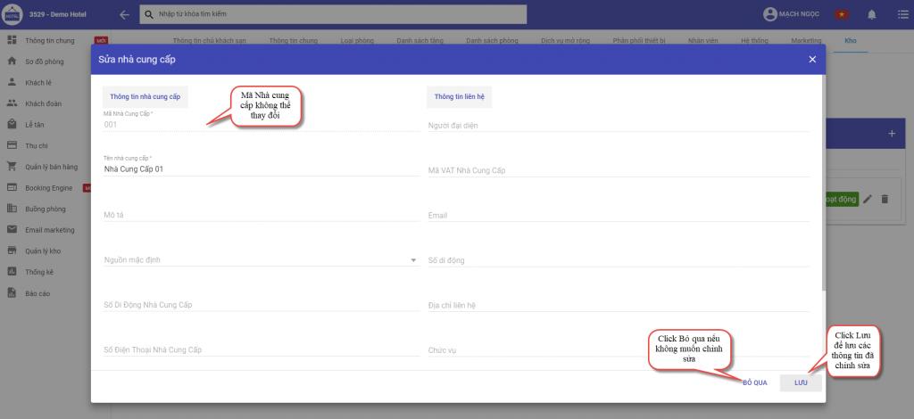 Chỉnh sửa thông tin nhà cung cấp trong phần mềm quản lý khách sạn ezCloudhotel