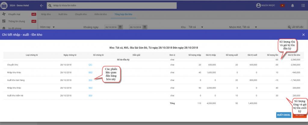 Kiểm tra số lượng tồn kho trong phần mềm quản lý khách sạn ezCloudhotel