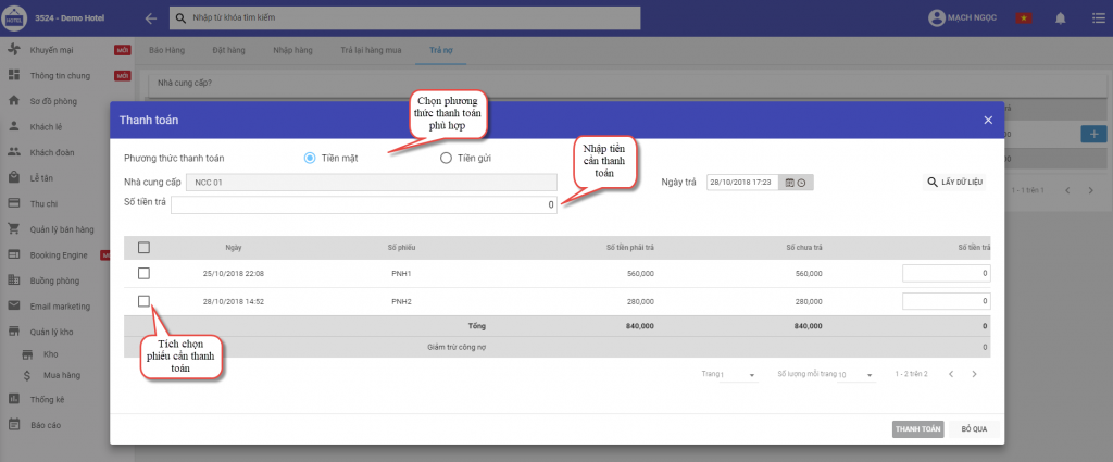 Thanh toán trả nợ trong phần mềm quản lý khách sạn ezCloudhotel