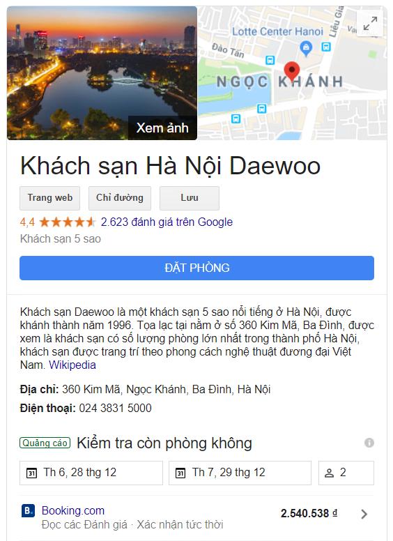 Marketing khách sạn với hồ sơ doanh nghiệp trên Google