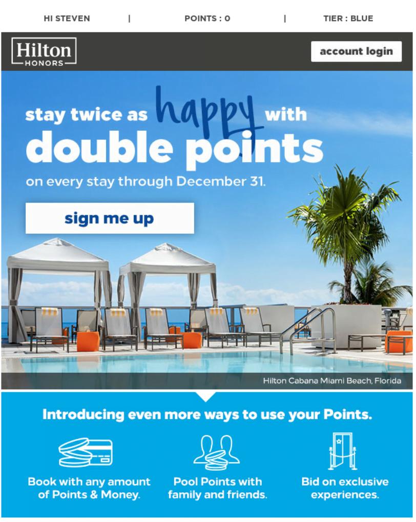 Mẫu email marketing của khách sạn Hilton