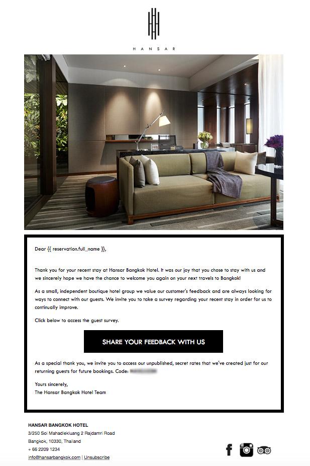 """Nội dung email """"cảm ơn"""" của khách sạn The Hansar Bangkok"""