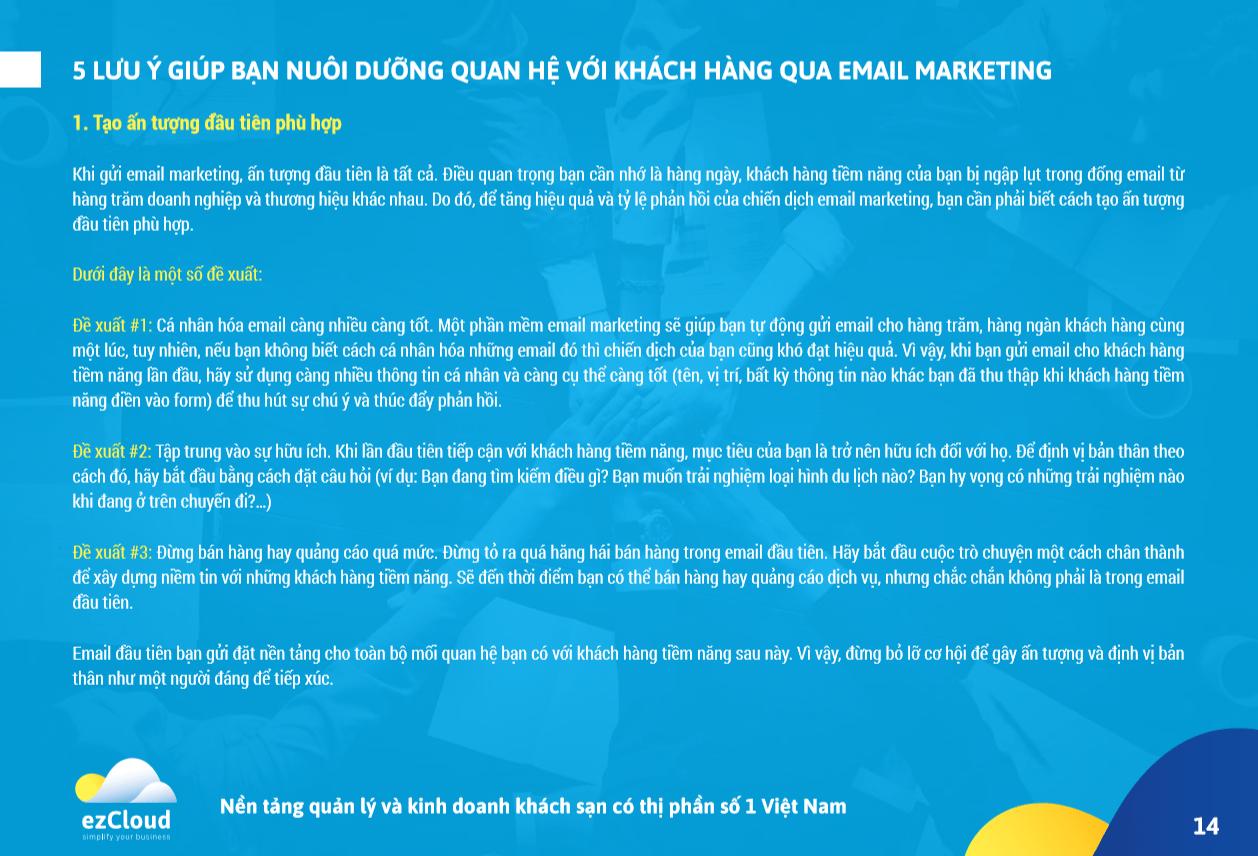 Nội dung trang 14 của ebook Hướng dẫn toàn tập: email marketing trong kinh doanh khách sạn
