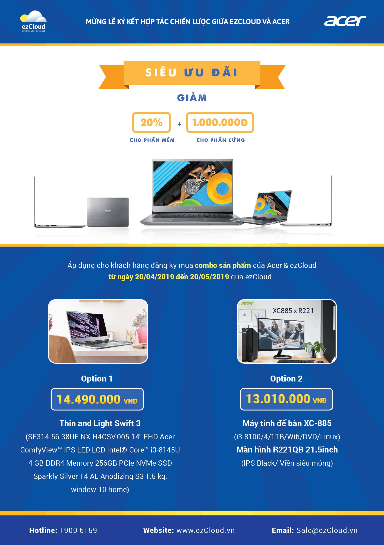Siêu ưu đãi từ ezCloud và Acer