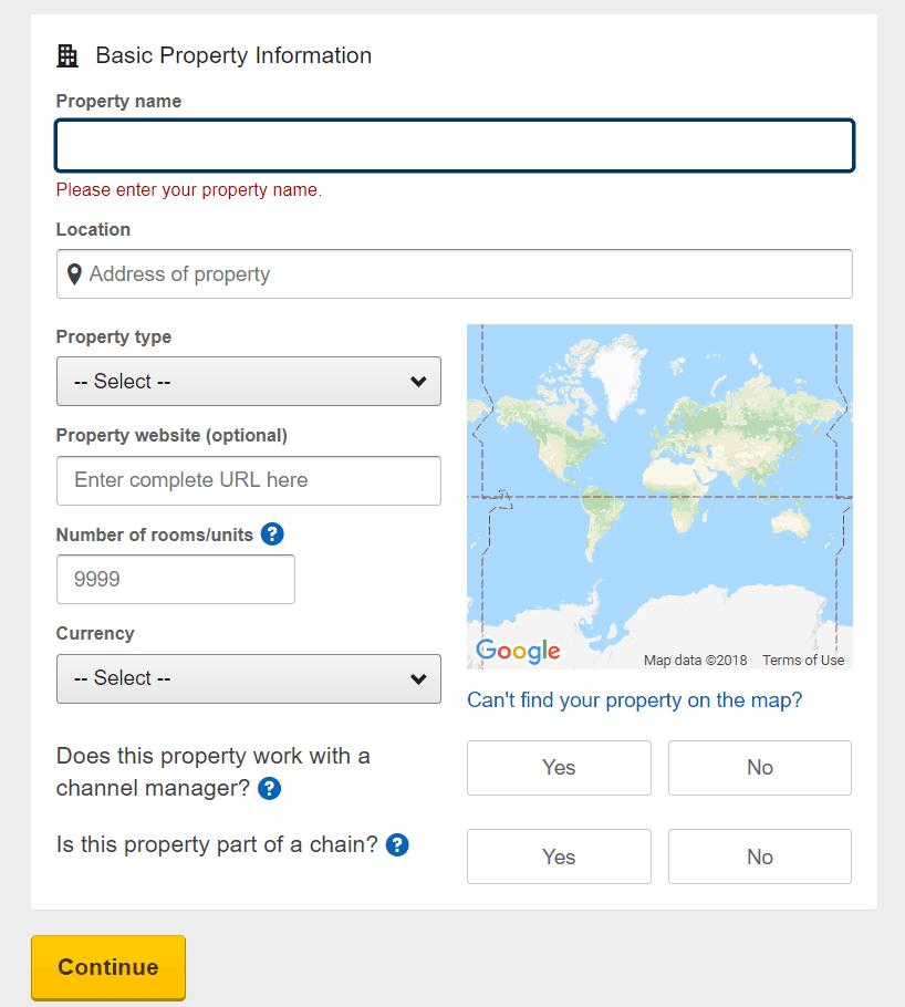 Form đăng ký bán phòng trên Expedia 2