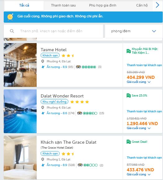 bước 3 lựa chọn khách sạn theo nhu cầu