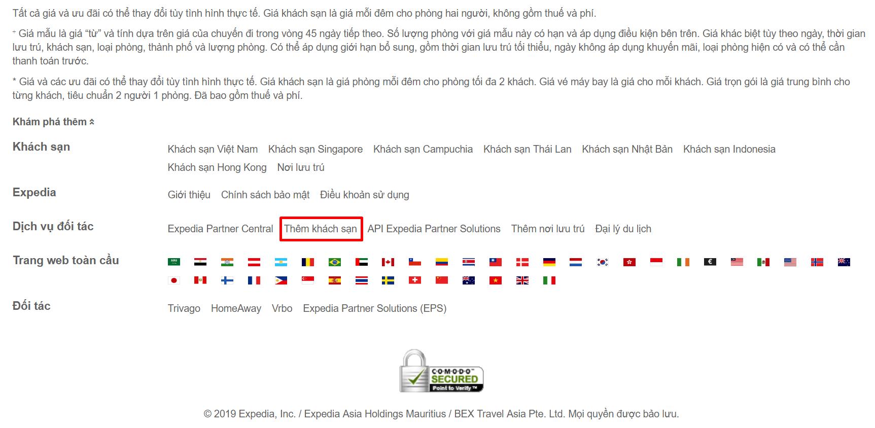Thêm khách sạn ở Expedia