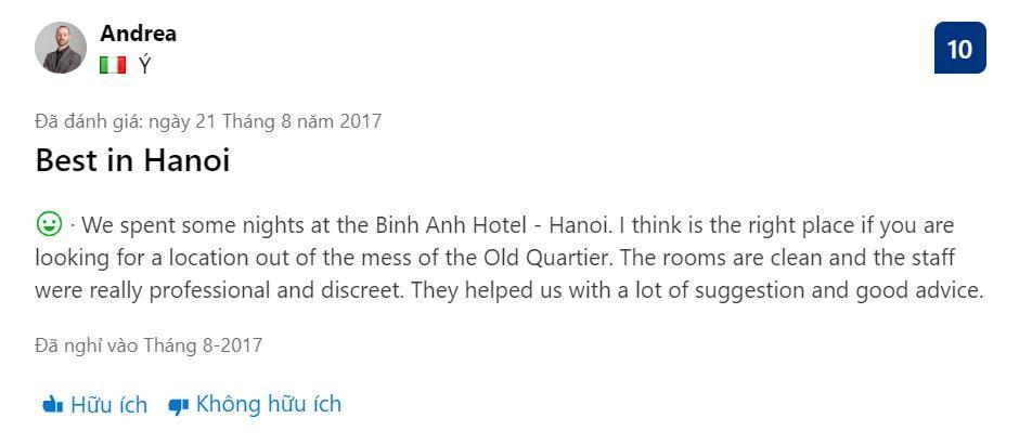 Đánh giá về khách sạn Bình Anh 4