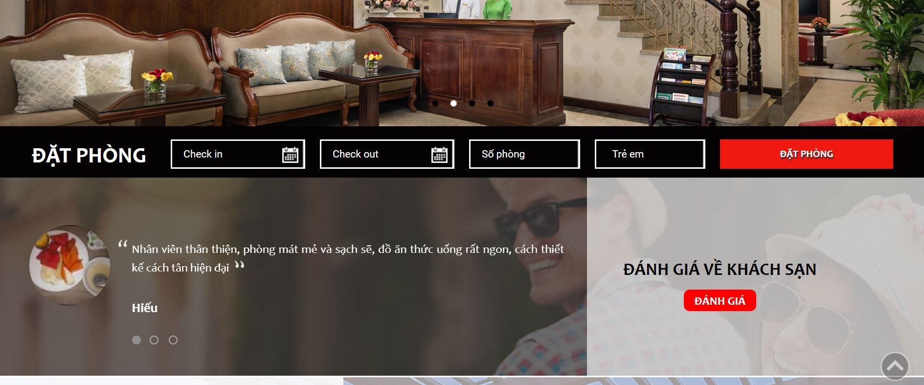 Hệ thống đặt phòng online ezBE được tích hợp trên website khách sạn Bình Anh