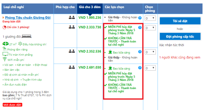 Đảm bảo yếu tố giá tương đồng với các kênh khác khi bán phòng trên Booking