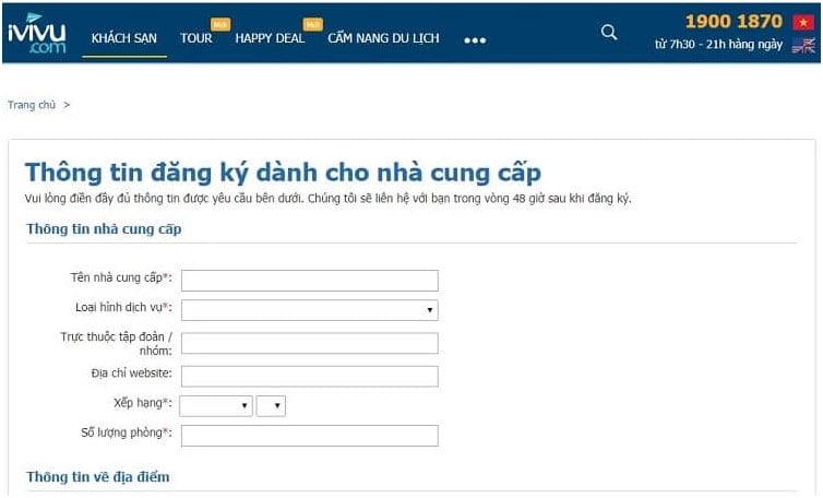 đăng ký bán phòng trên ivivu